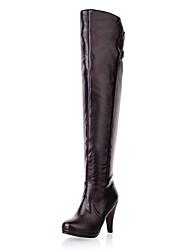 Chic cuero tacón de aguja sobre las botas hasta la rodilla con cremallera zapatos de fiesta / noche (más colores)