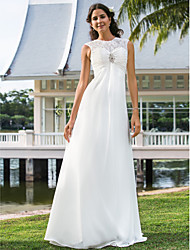 Sheath / Column Jewel Floor Length Chiffon Wedding Dress with Crystal Floral Pin Ruche by LAN TING BRIDE®