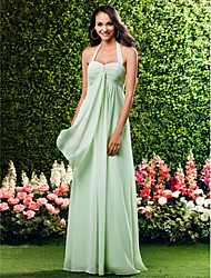 Bridesmaid Dress Floor Length Chiffon Over Mading Sheath Column Halter Wedding Party Dress
