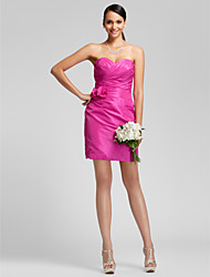 Lanting Bride® Short / Mini Satin Bridesmaid Dress - Sheath / Column Strapless / Sweetheart Plus Size / Petite withFlower(s) / Criss