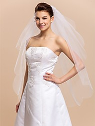 Two-tier Fingertip Length Wedding Veils With Scalloped / Cut Edge