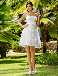 Lanting A-line/Princess Plus Sizes Wedding Dress - Ivory Knee-length Sweetheart Lace
