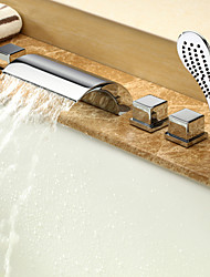 Bathtub Faucet - Contemporary - Waterfall / Sidespray / Handshower Included - Brass (Chrome)