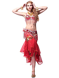 Performance Dancewear Chiffon Belly Dance Outfit Top and Belt and Skirt For Ladies