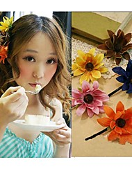 Women's Bohemia Look Summer Pure Color Flower Hair Clip