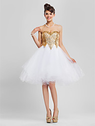 Homecoming Cocktail Party/Prom/Homecoming/Sweet 16 Dress - Gold Plus Sizes A-line/Princess/Ball Gown Strapless/Sweetheart Knee-length Tulle/Sequined