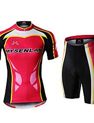 MYSENLAN Vélo/Cyclisme Ensemble de Vêtements/Tenus Femme Demi-manche Respirable / Zip étanche / Zip frontal / Vestimentaire RougeS / M /