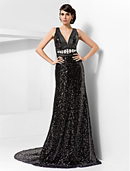Sheath / Column V-neck Court Train Sequined Formal Evening Dress with Crystal Detailing Sash / Ribbon by TS Couture®