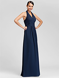 LAN TING BRIDE Floor-length Halter V-neck Bridesmaid Dress - Mini Me Sleeveless Chiffon