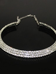 Women's Choker Necklaces Crystal Zircon Rhinestone Alloy Fashion Silver Jewelry Party 1pc