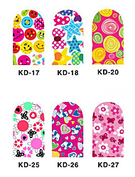 12PCS 3D Full-cover Nail Art Stickers Cartoon Series(NO.3,Assorted Color)