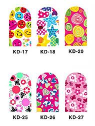 12PCS 3D Full-couvrir Nail Art Stickers Cartoon Series (n ° 3, couleurs assorties)