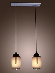 Modern Glass Pendant Lights with 2 Lights in Transparent Bottle Design