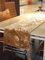 Gold Dahlia Pattern Velet Table Runner