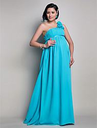 Lanting Bride® Floor-length Chiffon Bridesmaid Dress - Sheath / Column One Shoulder Maternity with Draping / Flower(s)