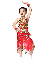 Performance Dancewear Chiffon with 98 Coins Belly Dance Outfit Top and Belt and Skirt For Children More Colors