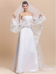 One Layer Beautiful Chapel Wedding Veil With Lace Applique Edge