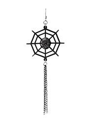 Handmade Black Spider Web PU Leather Gothic Lolita  Earrings