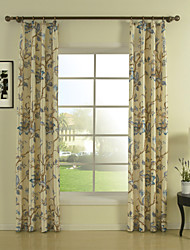 TWOPAGES® (Two Panels) Print Ivory Floral Energy Saving Curtain