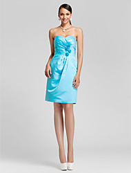 Knee-length Satin Bridesmaid Dress-Plus Size / Petite Sheath/Column Strapless / Sweetheart