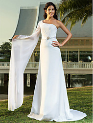 Lanting Bride® Sheath / Column Petite / Plus Sizes Wedding Dress - Chic & Modern / Elegant & Luxurious Sweep / Brush Train One Shoulder