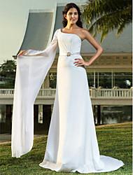 Lanting Bride Sheath/Column Petite / Plus Sizes Wedding Dress-Sweep/Brush Train One Shoulder Chiffon