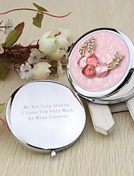Personalized Pink Chrome Compact Mirror Favor With Rhinestone