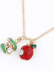 Cute Alloy Acrylic Zircon Apple Pattern Necklace