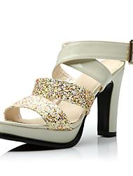 Brilhando PU sandálias de salto Chunky Com Lantejoula partido / sapatas da noite (mais cores)