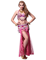 Performance Dancewear Crystal Cotton Belly Dance Outfit For Ladies