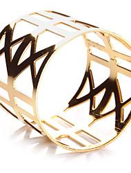 Set of 4 Geometric Hollow Design Zinc Alloy Napkin Ring