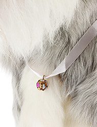 Cute Pure Colour Style Silk Ribbon with Little Bell for Dogs