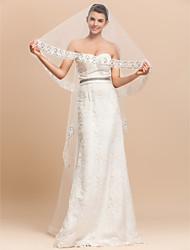 1 Layer Gorgeous Chapel Wedding Veil With Lace Applique Edge