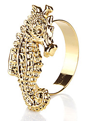 Set of 4 Hippocampus Design Golden Zinc Alloy Napkin Ring