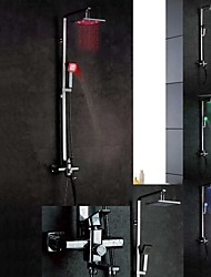 Chrome mural LED Color Changing contemporaines Robinets de douche en laiton