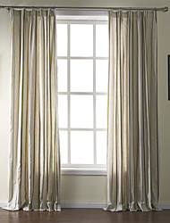 (Two Panels) Mediterranean Linen Print Stripe Eco-friendly Curtain
