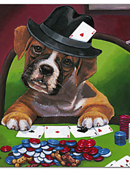 Stretched Canvas Art Animal Poker Dogs 2 by Jenny Newland Ready to Hang