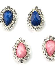 5PCS 3D dedo del metal con incrustaciones de diamantes Nail Art Decoraciones achate en forma de gota (colores surtidos)