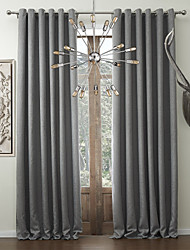 Two Panels Curtain Modern , Solid Faux Linen Material Curtains Drapes Home Decoration For Window