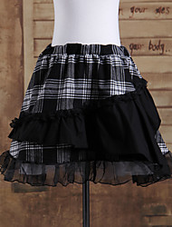 Short Negro patrón de prueba de algodón dulce falda Lolita