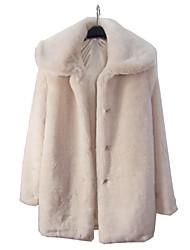 Manga de la capilla Faux Fur Coat Ocasional / partido largo (más colores)