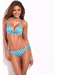 Bikini of the Year - RELLECIGA NOVO lindo Top Blue Metallic Stripe Bikini Set com enchimento de espuma moldada