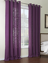 Two Panels Modern Solid Purple Living Room Poly / Cotton Blend Panel Curtains Drapes