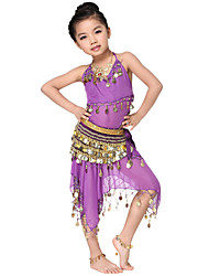Dancewear Chiffon with Coins Belly Dance Outfits Top and Belt and Skirt For Children More Color