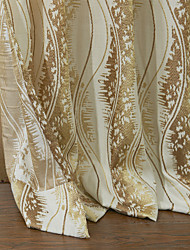 (Dois painéis) rococó algodão curva jacquard cortina de poupança de energia