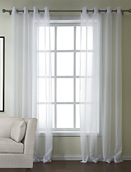 Two Panels Modern Solid White Bedroom Poly / Cotton Blend Sheer Curtains Shades