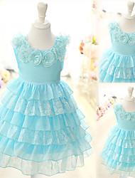 Lolita robe de genou longueur manches Graceful Light Blue Cotton Kid (Longueur: 59cm, coffre: 58cm)