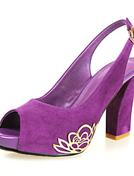 Fashion Suede Chunky Heel Peep Toe Pumps With Flower Party/Casual Shoes(More Colors)