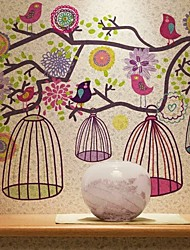 Colorful Flower Birds Wall Sticker