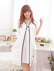 Lady's Casual Cute Long Ice Silk Babydoll Set